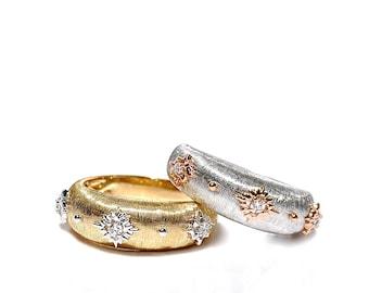 18k Brushed Gold Diamond Band/Ring