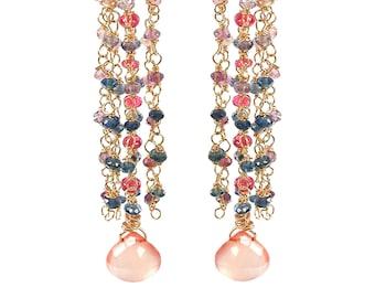 18k Multicolor Sapphire Chandelier Cascade Earrings