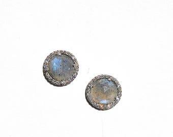 Pave Diamond Labradorite Earrings/Studs