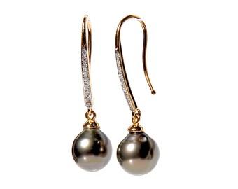 18k Tahitian Pearl Diamond Drop Earrings