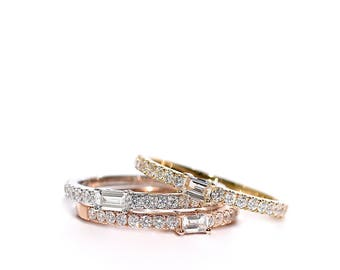 18k Baguette Center Pave Halfway Diamond Band/Ring