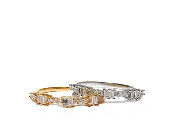 18K Gold Baguette Diamond Stackable Ring/Band