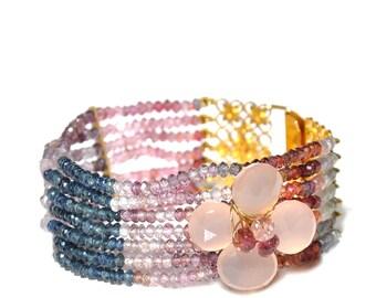 18k Multicolor Sapphire Multi Strand Bracelet/Cuff