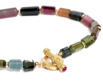 14K Extra Large Multicolor Tourmaline Choker/Necklace