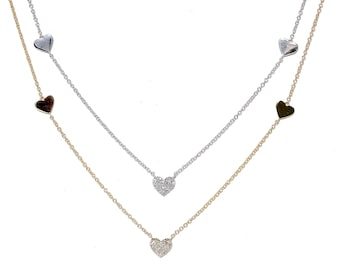 14k Pave Diamond Heart Charm Necklace/ Heart Layering Necklaces