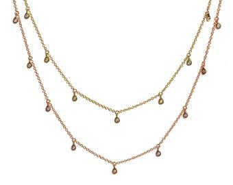 14K Dangling Diamond Tear Drop Necklace/Choker