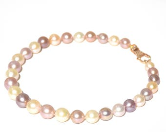 14k Pave Diamond Multicolor Fresh Water Edison Pearl Knotted Necklace