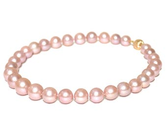 14k Pink  Fresh Water Edison Pearl Knotted Necklace