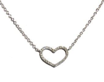14k Pave Diamond Open Heart layering Pendant/Necklace