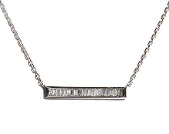 18k Baguette Diamond Bar Necklace