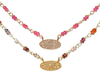 18K Pave Diamond Oval Rubellite & Multi-Color Sapphire Necklace