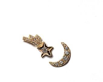 14k Diamond Shooting Star & Crescent Moon Earrings/Studs