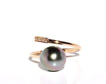 18k Diamond & Tahitian Pearl Open Ring *Made To Order*