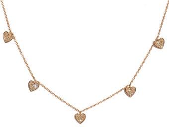 18k Pave Diamond Heart Charm Necklace