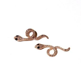 14k Pave White & Black Diamond Snake Climbers/Earrings