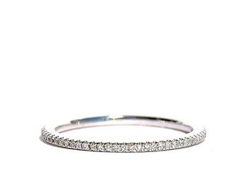 Platinum Micro Pave Diamond Eternity Stacking Band/ Ring