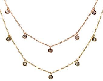14k Dangling Diamond Charm Necklace