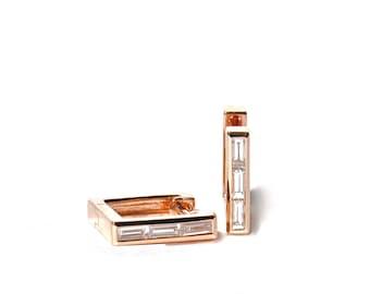14K Baguette Diamond Square Hoop/Earrings