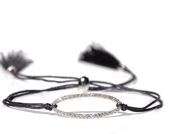 18K Pave Diamond Oval Tassel Bracelet