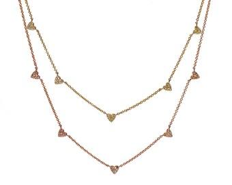 14k Pave Diamond Heart Charm Necklace