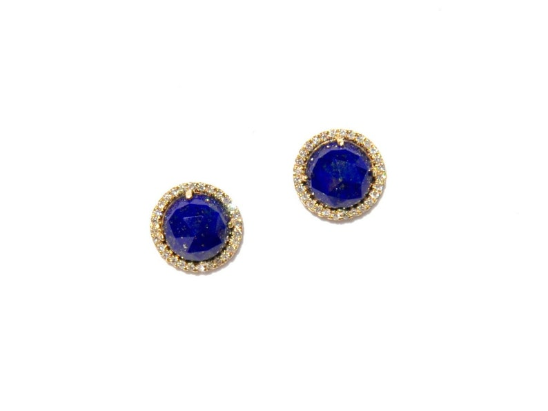 c4d151686264d 14k Pave Diamond Lapis Lazuli Earrings/Studs