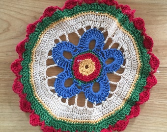 Colorful Vintage Crocheted Doily