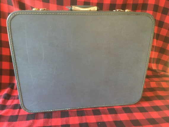 Midcentury Vintage Monarch Blue Suitcase