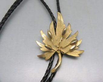 Brand New, Golden Ginkgo Leaf Bolo Tie Handmade