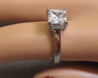 Vintage Emerald Cut Cubic Zirconia Engagement Ring,  Size 7