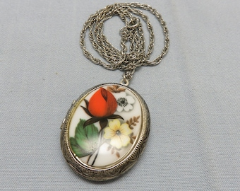 Vintage Butterfly Pansy Flower Locket Necklace with May Birthstone Crystal Silver Plated