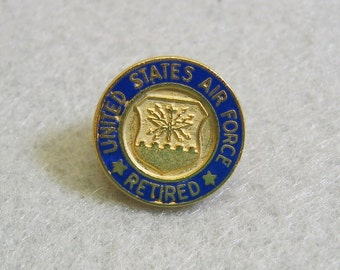 Air force tie pin etsy retired air force lapel pin tie tack navy enameled metal vintage publicscrutiny Choice Image
