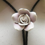 Vintage White and Pale Brown Plastic Rose Flower Bolo Tie