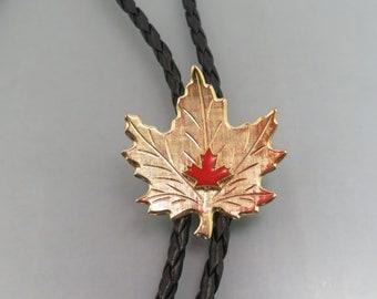 Vintage Port Arthur Canada Canadian Maple Leaf White Stone MOP  Bolo IC  Lot 46
