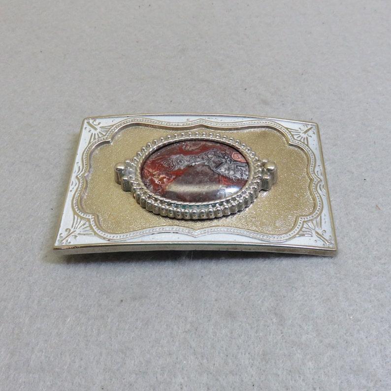 Vintage Gorgeous Colors Picture Agate Belt Buckle