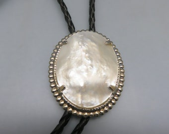 White Mother of Pearl Bolo Tie, Vintage Slide Set in our Shop Rockin' JK Designs