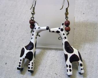 Funky 1970s Wood Handpainted Giraffe Pierced  Earrings