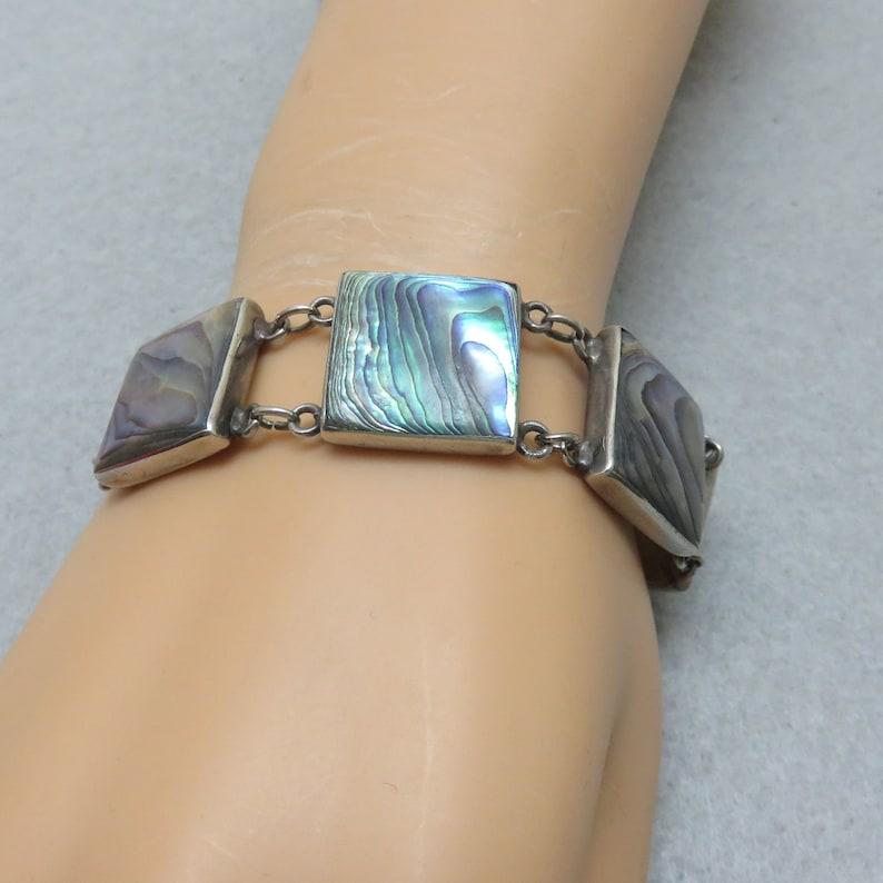 1960s 7.25 Inch Abalone Shell Sterling Link Bracelet image 0