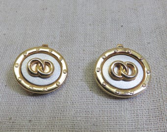 Designer Look Silver and Gold Clip On Earrings, 1980 Clip On Earrings