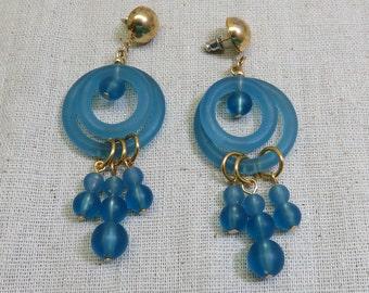 True Blue Plastic Mobile Pierced Earrings, Vintage