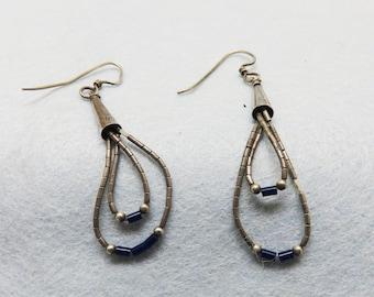 Native American Liquid Silver Pierced Earrings, Vintage Sterling Earrings
