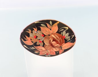 Vintage Russian Hand Painted Wooden  Brooch, Zhostovo Tole Painted Pin, Brown Leaves