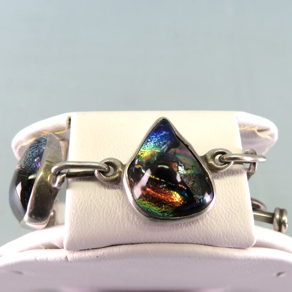Sterling and Dichroic Glass Link  Bracelet Vintage 7.50 Inches