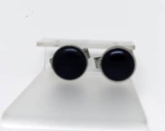 Vintage Silvertone Metal Round Button Cuff Links with Black Lucite