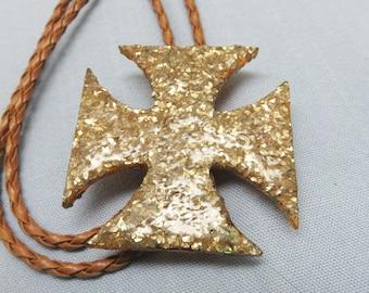 BIG Glittery Gold Maltese Cross Bolo Tie, Handmade Bolo, Rockin JK Designs