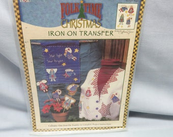 Folk Time Iron On Transfers,  Country Christmas Angels Iron On  Sheet, Plaid, 1997