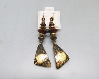Wood and Gold Boho Dangle Pierced  Earrings, Cool, Vintage 1980s