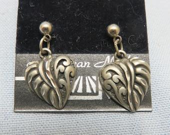 Southwestern Style Pierced Heart Pierced Earrings, Vintage Mint on Card