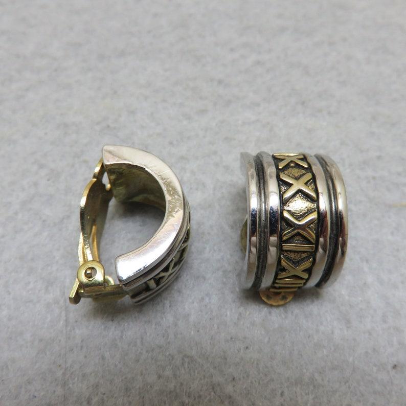Vintage Half Hoop Clip On Earrings Silver and Goldtone Metals image 0