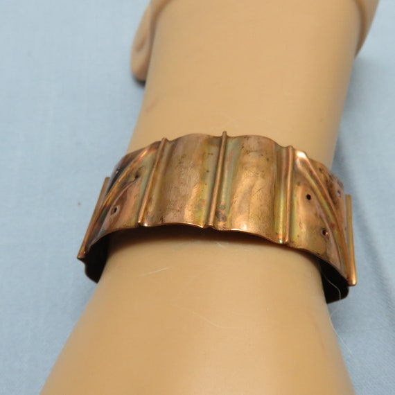 Hammered Copper Cuff with Black and White Ebony Wood Cabochon