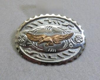 Silvery Chromed Metal Eagle Belt Buckle, Vintage
